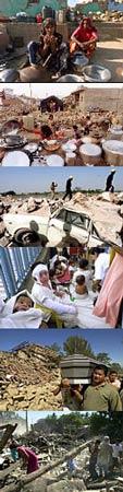 Resultados dos terremotos ocorridos em El Salvador e na Índia em janeiro e fevereiro de 2001 (fotos: AP)